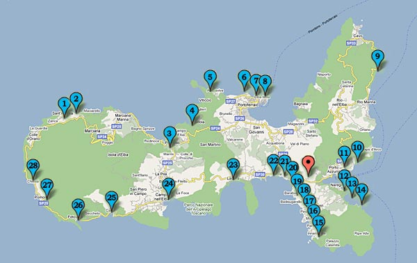 Map - The main beaches of the Island of Elba